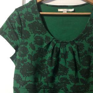 Boden Uptown Green Black Fleur Jersey Dress 10LUS